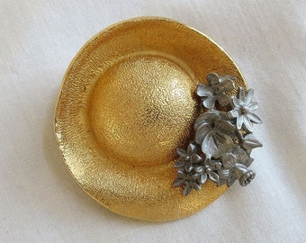 Vintage Ultra Craft Gold Tone and Pewter Flowers Hat Brooch