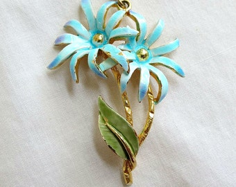 Vintage Enamel Flower Pendant on a Chain