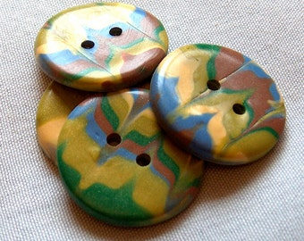 Yellow, Green and Blue Large Buttons No.241