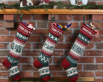 Family collection of personalized Christmas Stockings, red cuffs