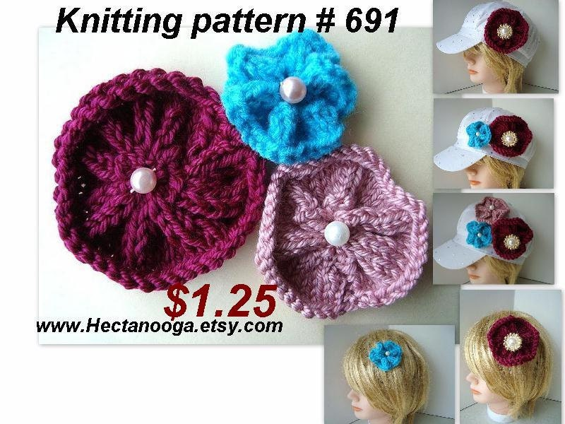 KNITTING PATTERN beginner flower knit flat on straight
