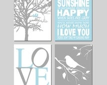 Blue Gray Nursery Art Bird Quad - You Are My Sunshine, Love, Birds in a Tree, Bird on Branch - Set of Four 8x10 Prints - CHOOSE YOUR COLORS