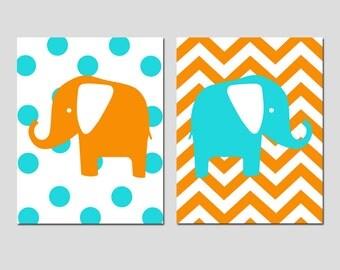 Elephant Nursery Art Duo - Set of Two 11x14 Chevron Zig Zag Polka Dot Prints - Kids Wall Art - CHOOSE YOUR COLORS