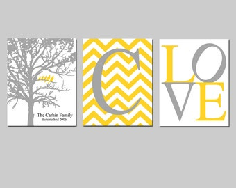 Family Tree Established Birds in Tree Love Chevron Initial Monogram - Set of Three 8x10 Prints - Choose Your Colors - GREAT GIFT