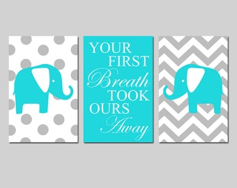 Aqua Gray Nursery Art Trio - Set of Three 13x19 Prints - Chevron Polka Dot Elephants - Your First Breath Took Ours Away - CHOOSE YOUR COLORS