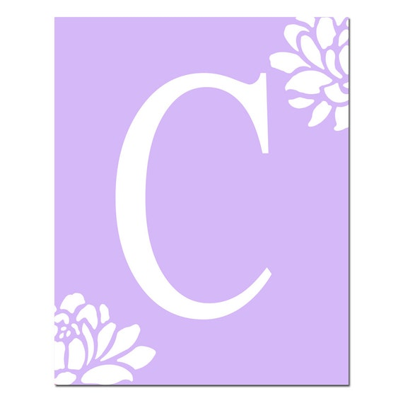 Floral Monogram Initial Letter - Baby Girl Nursery Art - 8x10 Print - CHOOSE YOUR COLORS - Shown in Faint Lilac and More