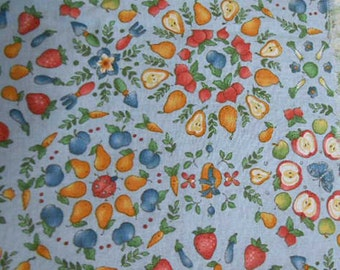 Pastel FRUIT FABRIC, Red Apples Strawberries Golden Pears Blue Plums, Pastel Background, Vintage Kessler Concord, Quilt Squares Pillows 1 yd