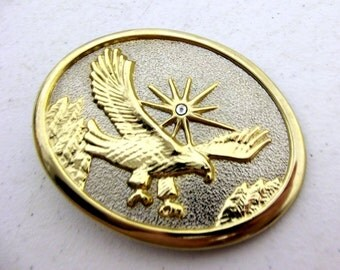 Gold and Silver colored Flying Eagle belt buckle with rhinestone