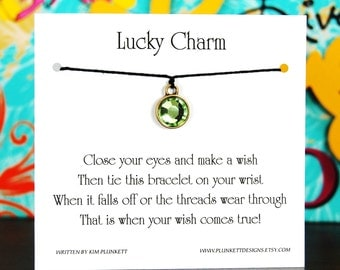 Lucky Charm - Wish Bracelet With Green Gem Charm - Shown In The Color BLACK  - Over 100 Different Colors Are Also Available
