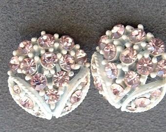 Vintage White Japanned Metal Earrings with Brilliant Pink Rhinestones