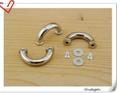 5/8  inch nickel bridge buckle ,belt buckle , strap buckle 8pcs ( attach with screws and washers) i39