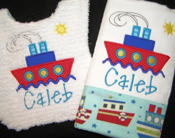Personalized Baby Bib and Burp Cloth Gift Set - Appliqued Ship - Reversible - White Chenille