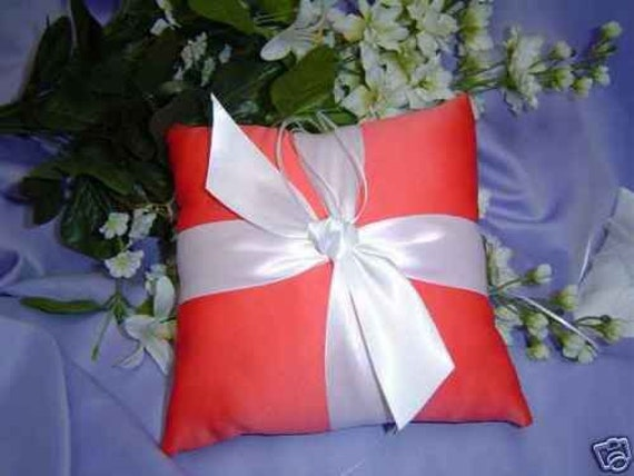 Coral Ring Pillow Ring bearer Wedding pillow, any color satin and bow!