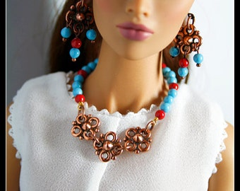 "Statement Necklace Links with Swarovski Pearl with Flower Pendant. Fits 16"" tall Doll"