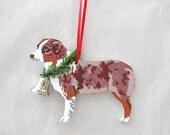 Hand-Painted AUSTRALIAN SHEPHERD Red Merle Wood Christmas Ornament Artist Original...Nicely Painted