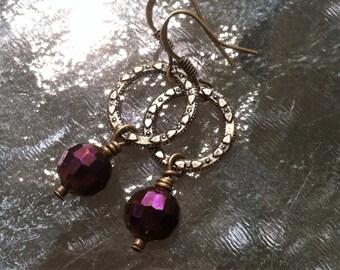 Metallic Purple Infinity Earrings with Antique Brass