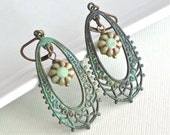 Patina Filigree Hoop Earrings - Verdigris Jewelry, Nature Jewelry, Floral Jewelry
