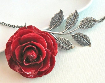 Real Rose Necklace - Red, Silver Leaf, Large Flower Necklace, Nature Jewelry, Large Rose Necklace, Floral Jewelry