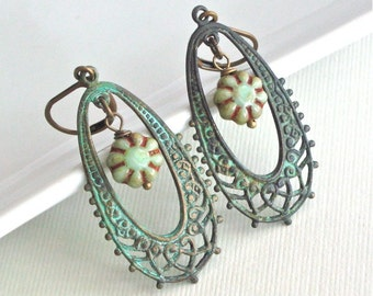 Patina Filigree Hoop Earrings - Verdigris Jewelry, Nature Jewelry, Floral Jewelry