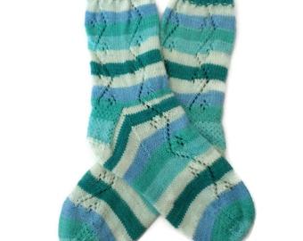 Socks - Hand Knit Women's Summer Ocean Socks With Lace Pattern - Size 7-8