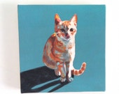 Orange cat print / Tiny canvas print -  -Animal Painting- Pets- art print - wall hanging - blue cats