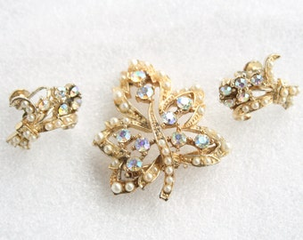 Maple Leaf Rhinestone Brooch Earrings Set Vintage Signed CORO AB Rhinestones Faux Pearls Pin