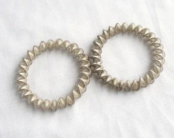 Silver Spring Bangle Bracelets Vintage Set of 2 Modernist Metropolitan Museum Modern Art MOMA Twisted