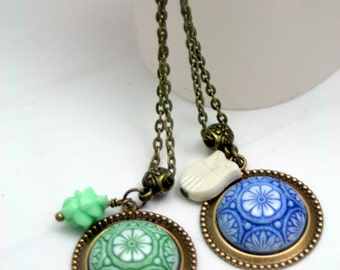 Whimsy Vintage Glass Pendant Necklaces Choice Blue Green Spanish Tile Style
