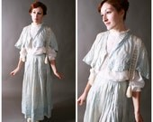 Vintage Edwardian Dress - Two Piece Cotton Day Dress Set with Skirt and Tasseled Jacket