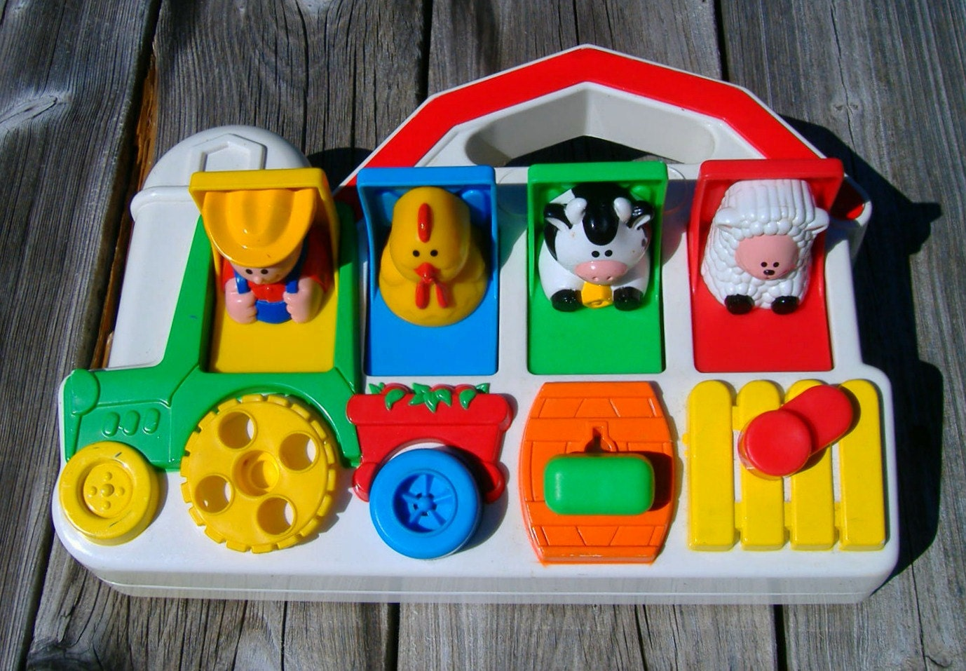 Toys For 4 And Up : Vintage fisher price farmer pop up farm barn animals toy