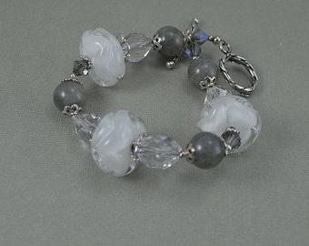 Sculpted White Lampwork Beads Labradorite Sterling Silver Bracelet
