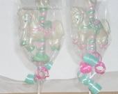 4 3D Carousel horse lollipops or favors
