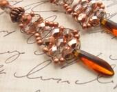 Copper Light Earrings  -Inspired By Downton Abbey