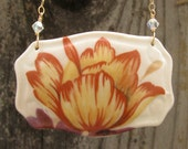 Red Tulip Porcelain Necklace