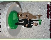 Golfing Man, Frustrated, Gopher, Personalized Wedding Cake Topper