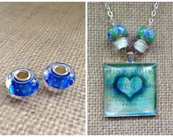 5pc...European Murano Glass Bead...Blue Stud...Great for Glass Tile necklaces. Fits most European Bracelets...B004
