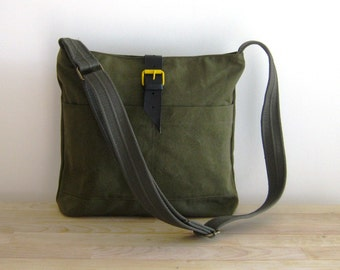 Army Green Canvas Messenger with a Yellow Bucket