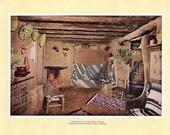 1927 Print Of the Interior of the Hopi House, Grand Canyon National Park, Arizona. FREE U.S. SHIPPING