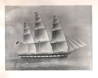 Print of the Sailing Ship Courser, built in 1851