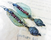 Shadow Veil. Victorian tribal assemblage earrings with Roman glass, garnet.