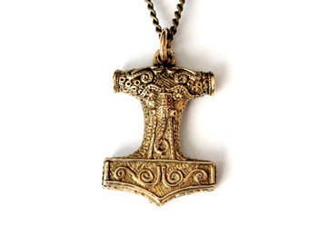 Thors Hammer Necklace Bronze Mjolnir  Pendant Necklace Thors Hammer Viking Jewelry 086