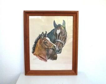 Vintage Framed Equestrian Print