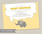 Yellow Elephant Baby Shower Invitations - Elephant Birthday Invites - gender neutral (DIY Printable Digital File OR Printed Cards)