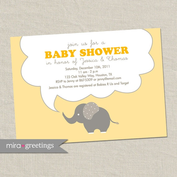 Yellow Elephant Baby Shower Invitations - Elephant Birthday Invites - gender neutral (DIY Printable Digital File OR Printed Cards)