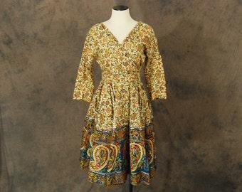 vintage 50s Dress - 1950s Indian Cotton Paisley Beaded Party Dress Skirt Set Blouse Circle Skirt Sz S