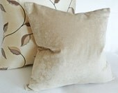 Neutral Throw Pillow, Solid Taupe Pillow, Contemporary, Velvet, Textured, Light Taupe,  Elegant Cushion Cover 18x18, 45x45 cm, SALE