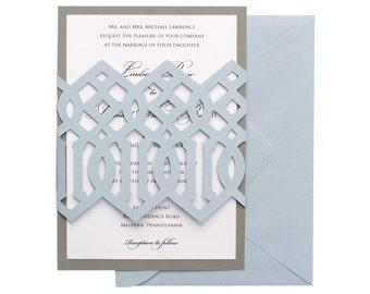 Imperial Trellis Wedding Invitations - blue, neutral, silver, hollywood regency, graphic, geometric, ultra modern, glam invites, bat mitzvah
