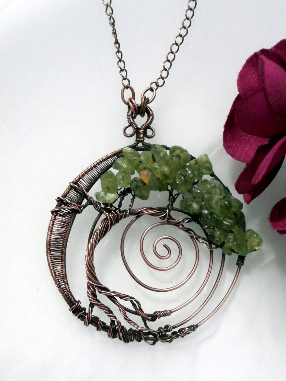wire wrapped tree of pendant necklace peridot bonsai