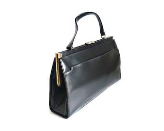 JULIE FRench Vintage 40s Black Leather Handbag