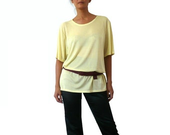 French Vintage Pale Yellow Jersey  Slouchy Blouse